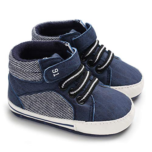 KaKaKiKi Baby Boys Girls Ankle High-Top Sneakers Shoes Soft Sole Toddler First Walker Newborn Crib Shoes, 01 Black+strap, 12-18 Months Toddler