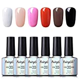 Fairyglo Smalto Semipermanente Smalto per Unghie in 3 in 1 Gel UV LED 6pz Kit Smalti Semipermanenti Soak off One-Step Gel Colori Ricostruzione per Unghie 10ml - C001