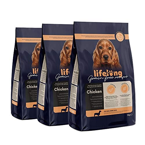 Marchio Amazon - Lifelong Alimento secco completo per cani di razza piccola con pollo fresco, ricetta senza grano - 3kg*3