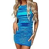 Women Sexy Dresses Bodycon Y2K Knitted Halter Neck Sleeveless Midi Dress Backless E Girl Party Beach Tank Dress Blue