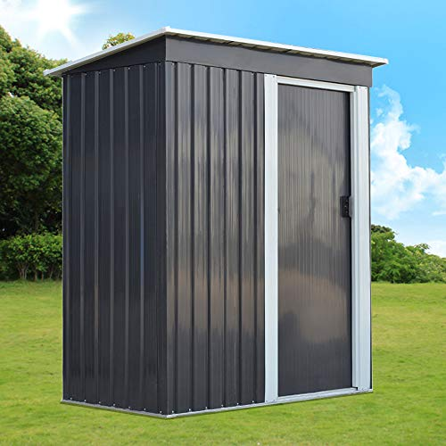 Metal Garden Shed 3 X 5FT Yard Store Garden Tools Box Storage House - Grey