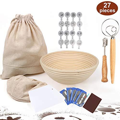 27 Pieces Banneton Proofing Bread BasketSourdough Baking9inch Baking Bowl Dough/Danish Dough Whisk Bread Mixer/Lame Slashing Tool/Dough Bowl Scraper/Bread Stencils/Cloth Liner/Storage bag