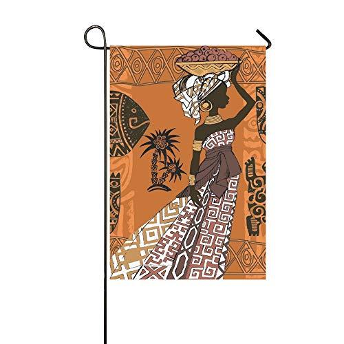 JOCHUAN Hermosa Mujer Negra Mujer Africana Conjunto Africano Jardín Africano Casa de Bandera Patio Yarda Flaggarden Patio Decoraciones Temporada Bienvenida Bandera al Aire Libre 12X18 Pulgadas