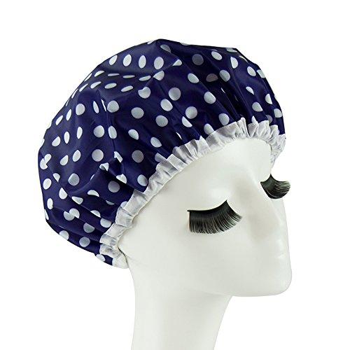 Eslite Waterproof Double Layers Shower Caps for Women, (Dark Blue)