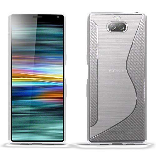 Blueenza Carcasa de Silicona para Sony Xperia XA3 y Xperia 10, diseño en Forma de S con Forma de S, TPU Silicona, Forma de S Transparente, Sony Xperia XA3 / Xperia 10