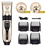 TIMPROVE Tondeuse pour chien, kit de toilettage pour chien à faible bruit et rechargeable par USB, rasoir professionnel sans fil pour animal de compagnie, de petite taille et de taille moyenne, pour chiens et chats