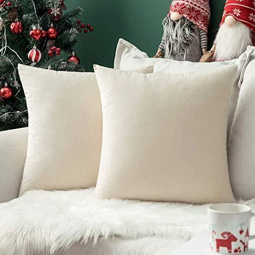 Angel's Pride - Set di 2 cuscini decorativi in velluto, tinta unita, per divano, camera da letto, ufficio, auto, 45 x 45 cm, colore: bianco panna, 45 x 45 cm
