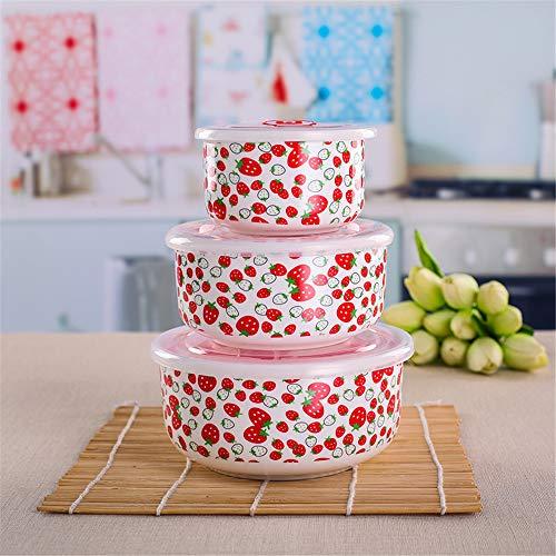 HNyyMa ?Geschirr Keramik Lunchbox Aufbewahrungsbox gro?e Sch¨¹ssel Mikrowelle Porzellan Knochen Konservierungsschale dreiteilige Dichtung mit Deckel, L