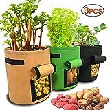 scoolr, sacchetti per la coltivazione di patate, confezione da 3 sacchetti per la coltivazione di patate, in tessuto aerato, con patta per coltivare verdure, patate, carote, pomodori, 33 cm x 35 cm