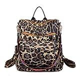 Mochila con estampado de leopardo, ligera, de piel sintética, de moda, para...