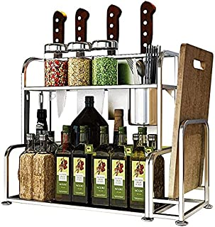 DJSMsnj Étagère de cuisine à 2 étages en acier inoxydable à fixer au mur et à poser - 50 x 22 x 41,5 cm