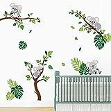decalmile Pegatinas de Pared Koala y Árbol Vinilos Decorativos Tropical Hojas de Palma Adhesivos Pared Habitación Infantiles Bebés Guardería Dormitorio