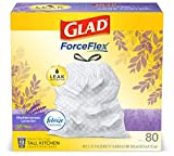 Glad Tall Kitchen Drawstring Trash Bags - OdorShield 13 Gallon White Trash Bag, Febreze Mediterranean Lavender - 80 Count