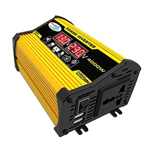 Inversor De Corriente,Transformador de corriente 4000W 12V a 220V /110V Mostrar automóviles del inversor del automóvil Adaptador convertidor Dual USB Transformador de voltaje modificado Coche de onda