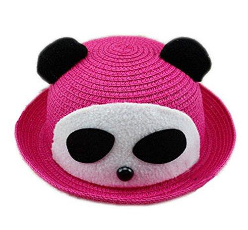Koala Superstore Cute Panda Girls Cappello da Sole di Paglia Cappello Estivo da Sole Cappello a Secchiello Topper, Rosa Rossa