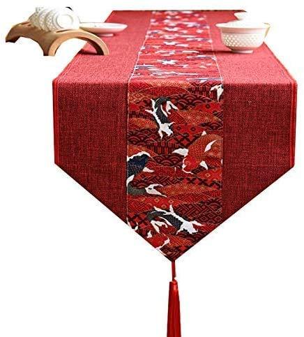Camino de mesa retro de algodón y lino con borla, juego de café largo rectangular multiusos para el hogar, cocina, fiesta, decoración de uso diario (30 x 1 JoinBuy.R