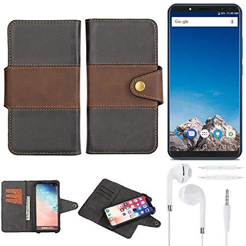 K-S-Trade® Handy-Hülle Schutz-Hülle Bookstyle Wallet-Case Für -Vernee X- + Earphones Bumper R&umschutz Schwarz-braun 1x