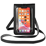 Clear Window Touch Screen Cell Phone Purse Case Girls Women Small Crossbady Shoulder Bag Pouch for iPhone 12/11 Pro Max,XR, Galaxy S20 S10 A10e A31,Note20 5G,Note 10+, Google Pixel 4a,LG Stylo 5(Black