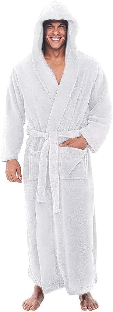 Goldweather Men Plush 5 ☆ very popular Warm Fleece Sale special price Robe with Winter Fla Soft Hood