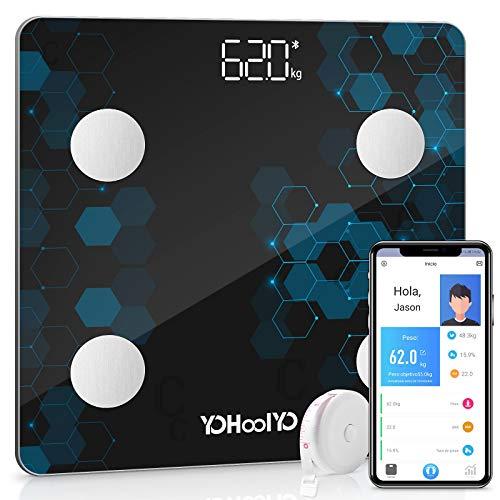 YOHOOLYO Báscula de Baño Báscula Inteligente Bluetooth Báscula Digital Monitores de Composición Corporal 5-180kg para Andriod y iOS