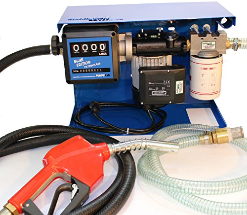 Diesel-Heizöl-Filter-Anlage Hergestellt in Deutschland Blue Edition mit Zählwerk Tankstelle Gummi Dieselschlauch Zapfpistole mit Piusi-Pumpe