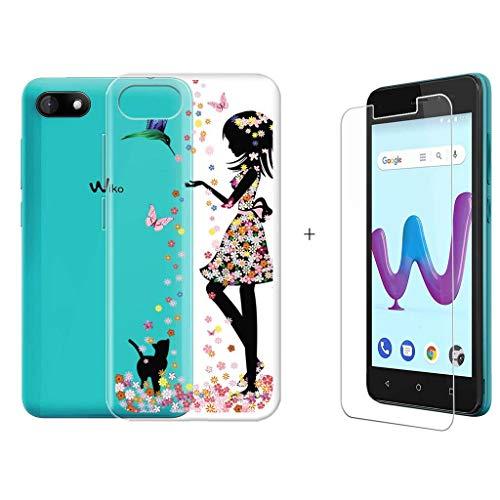 LJSM Wiko Sunny 3 Hülle Transparent + Panzerglas Bildschirmschutzfolie Schutzfolie - Weich Silikon Schutzhülle Crystal Flexibel TPU Tasche Case für Wiko Sunny 3 (5.0
