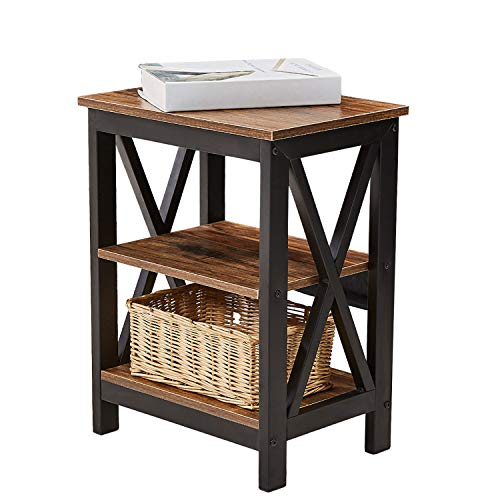 VECELO Nachttisch, Holz Beistelltisch Nachtkommode Kaffeetisch Sofatisch Betttisch Couchtisch mit 2 Ablagen für Wohnzimmer/Schlafzimmer,Hochwertig und Langlebig, Vintage Braun