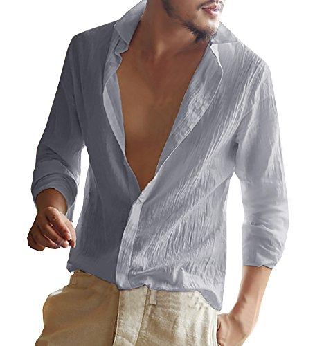Gemijacka Herren Leinenhemd Langarm Herren Hemd Sommerhemd Herren Regular Fit Freizeithemd