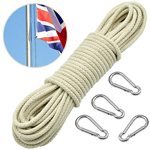 Wandefol Outdoor-Seil Fahnenseil Kletterseil aus Reißfastem Baumwolle mit 4 Alu-Lagierung Hakenklammern, 6mm 25m für Garten Camping Haushalt