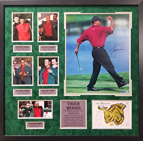 Tiger Woods PGA Golf Double Matted 8x10 Photograph Talking with Arnold Palmer