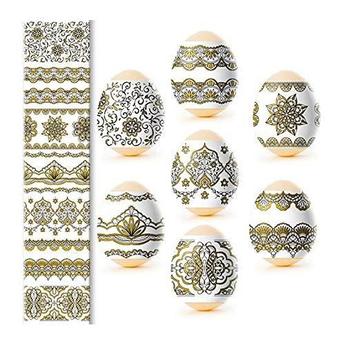 Ostern Gold Ostereier Eieraufkleber Eierfarben Oster Dekorbanderolen, 7 Verschiedene Motive in Packung