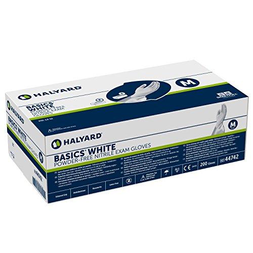 HALYARD Basics White Nitril-Untersuchungshandschuhe Handschuhe unsteril, puderfrei, Gr. Mittel (M) Box a 200 Stück