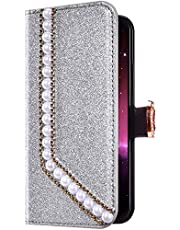 Uposao iPhone 7/8 Funda Libro con Tapa de Cuero, Purpurina Funda Diamante Glitter Brillante Perlas Corazón Patrón Carcasa Billetera Tarjetero,Cierre Magnético,Soporte Flip Case,Plata