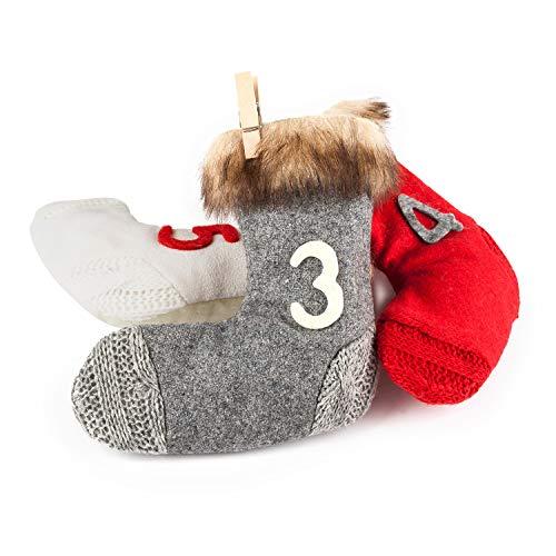 Adventskalender zum Befüllen Norwegen grau weiß rot mit Fell zum Aufhängen 24 Stoffbeutel Weihnachten, Weihnachtskalender DIY von pajoma