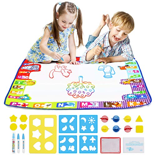 Water Drawing Doodling Mat, TOYCRAZ Aqua Magic Water Doodle Mat Coloring Writing Painting Mat Educational Toys Gifts for Kids Toddlers 3 4 5 6 7 8 Years Old (31 x 31 Inches)