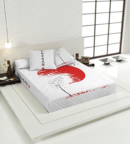 TSUKI Colcha Multipunto HINATA cama negro/blanco/rojo Zen Chillout (Cama 105)