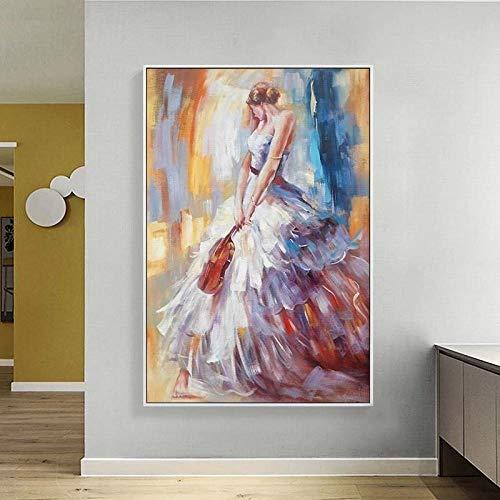 VVSUN Mujeres Elegantes Pintura impresión Abstracta Figura de Acuarela Arte de Pared Lienzo póster e Impresiones galería Moderna Sala de Estar decoración del hogar 50x70cm-sin Marco