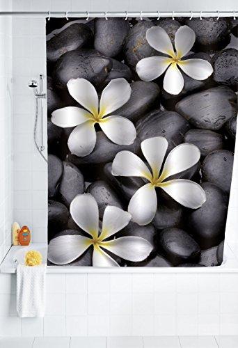 WENKO 20962100 Duschvorhang Bloom - waschbar, mit 12 Duschvorhangringen, 100 prozent Polyester, Mehrfarbig