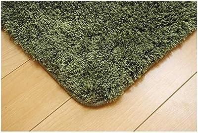 イケヒコ ラグカーペット 長方形 スレッド グリーン 約130×190cm シャギー調 無地 #9616459