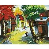 Pintura por Números para Adultos Niños Calle del arce otoñal DIY Pintura por números con Pinceles y Pinturas Decoraciones para el Hogar sin Marco de 40 X 50 cm