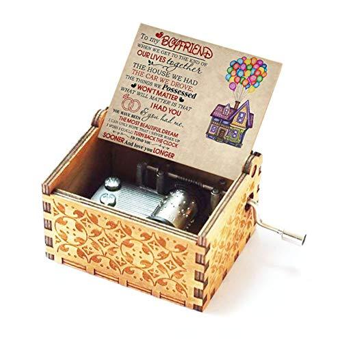 Evelure Caja de música de madera para regalo de novia o novio, hecha a mano, estilo antiguo, madera tallada a mano, decoración para el hogar