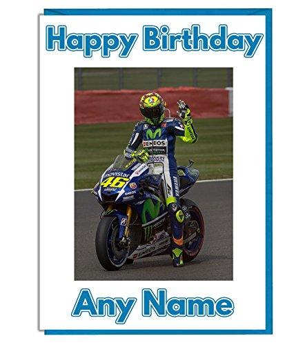 Personalisierte Geburtstagskarte, Motorrad- / MotoGP-Motiv, Name und Alter personalisierbar, englische Aufschrift
