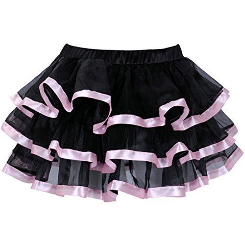 Tutu Rock Röcke Damen 3 Schichten schwarz Tüll Rock mit rot/weiß/rosa/blau Satin Rand (rosa, M)