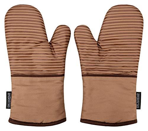 OCTOPUS Kitchenware Back-Ofenhandschuhe Premium, Grill-Handschuhe BBQ extra-lang, Backhandschuhe, Topfhandschuhe, 2er Set, Coffee-braun, mit hitzebeständiger Silikon-Beschichtung Anti-Rutsch