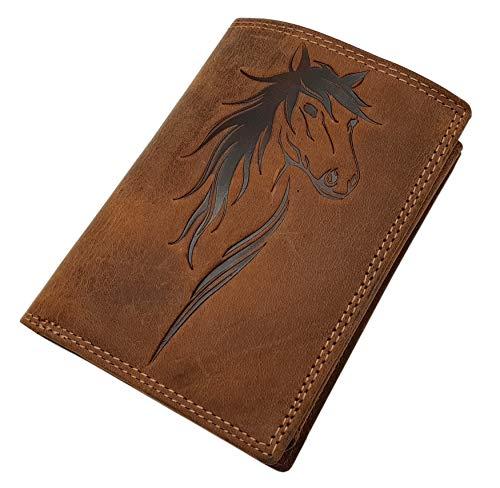 Cuero de búfalo cartera para mujer con caballo-motivo con bloqueo RFID y NFC en coñac
