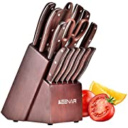 Keenair Knife Sets, 15-Piece Kitchen Knife Set with Block Wooden, Knife Block Set with Sharpener and German Stainless Steel