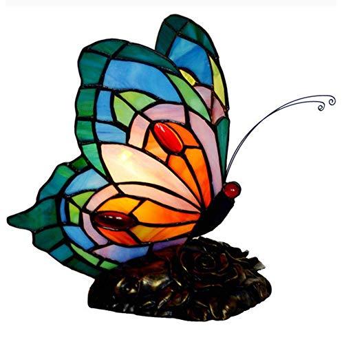 nakw88 Estudio de Dormitorio de luz de Noche de Mariposa Decorativa Estilo/lámpara de vitral Hecha a Mano Lámpara de Mesa (Color : Green)