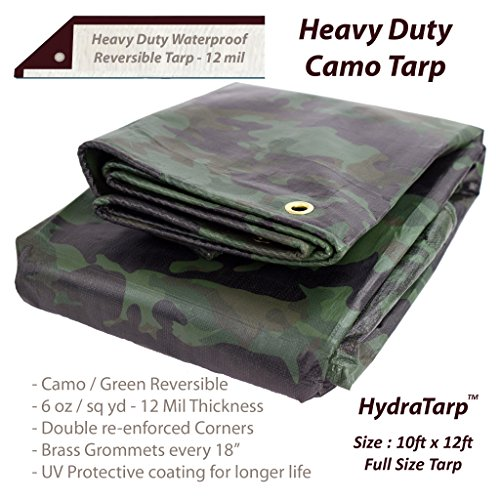 Heavy Duty Waterproof Camo Tarp - Reversible Camouflage/Green Tarp - 10x12 with UV Protection for Outdoor Camping RV Truck and Trailers