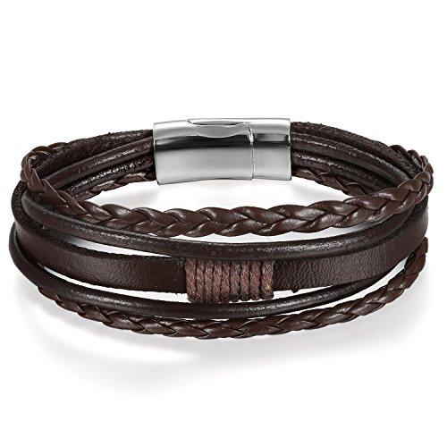 JewelryWe Schmuck Herren Damen Armband, Multi-Layered Wickelarmband geflochten Leder Armband Armreif mit Magnetverschluss, Braun Silber