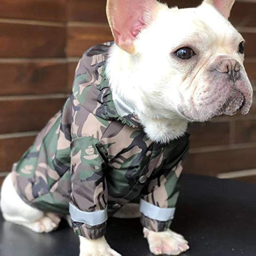 Gulunmun Regenjacken für Hunde Hunderegenmantel Französische Bulldogge Kleidung Mops Kleidung Haustier Regenjacke wasserdichte Kleidung für Hund Reflektierende Kostüm Bekleidung @ M